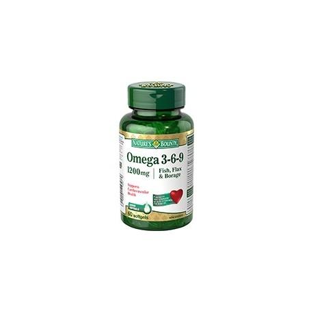Fish, Flax, Borage 1200mg Omega 3,6,9 - 60 Softgels