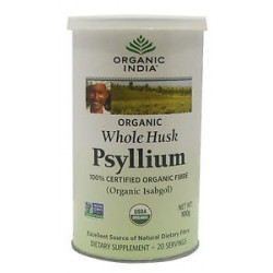 Organic India Whole Husk Psyllium (Isabgol) - 100g (3.6 Oz)