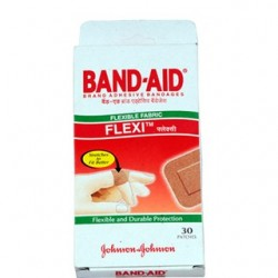 Flexible Fabric Band aid Square 30 Patches - Johnson & Johnson