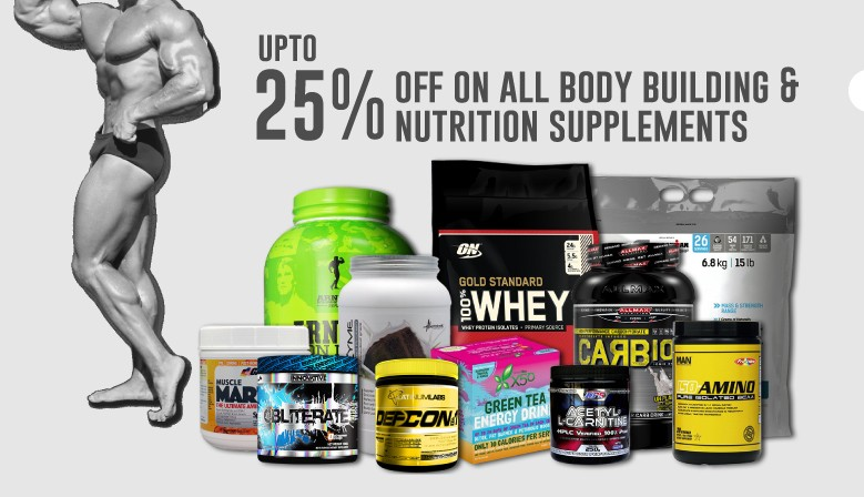 Up to 25% off all body building and nutrition supplements